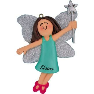 fairy female brunette hair personalized christmas ornament