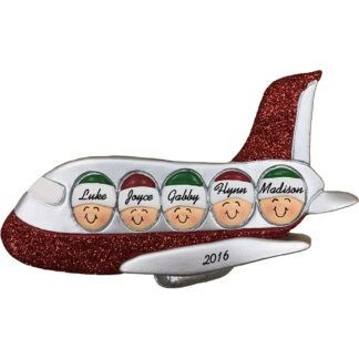 airplane family of five personalized christmas ornament